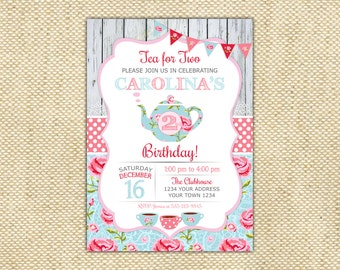 Tea For Two Invitation Party 2nd Birthday 2