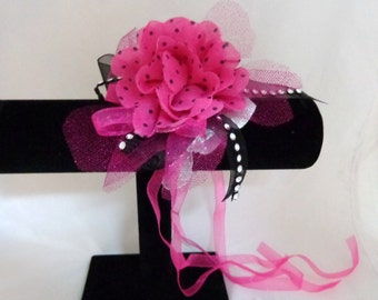 Pink with Black Polka Dots Flower Wrist Corsage-Wrist Corsage-Wedding Destination-Prom-Party-Mother of the Bride-Bridesmaid-Wrist Corsage