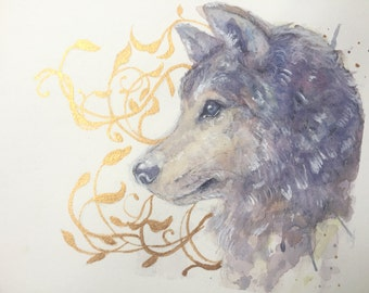 Mini Watercolor Wolf Painting