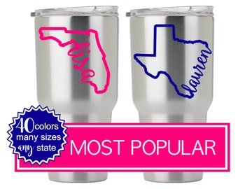 Personalized State Decal, Yeti Decal Texas, Yeti Texas Decal, Yeti Stickers for Women, Yeti Tumbler Decal for Women DECAL ONLY 5HP1Y