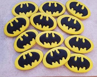one dozen Batman Logo Cookies