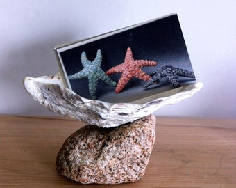 Seashell & Sea Stone Trinket Dish, Beach Decor, Oyster Shell Coastal Decor Ring Dish Business Card Holder