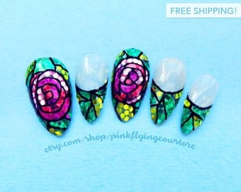 Glittery Stained Glass Roses press on nails