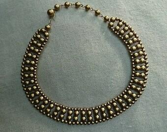 Vintage 1970's Circular Bronze Coloured Beaded Necklace  BoutiqueByDanielle
