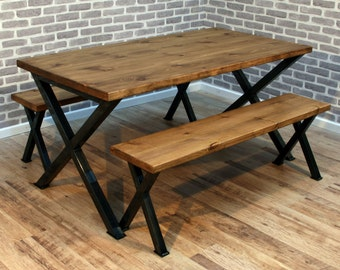 Brinkley X Rustic Industrial Reclaimed Wood Dining Table Metal Frame 140 X  80cm UK Made Brown