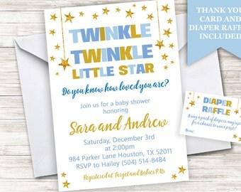 Twinkle Star Baby Shower Boy Invite Invitation Sprinkle Digital Personalized 5x7