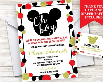 Mickey Mouse Inspired Baby Shower Boy Invite Invitation Sprinkle Digital Personalized 5x7 Gold Red Black