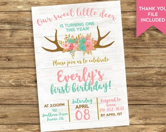 Boho First Birthday Invitation Deer Invite Digital 1st Girls 5x7 Antlers Kids ANY AGE Wood Pink Turquoise