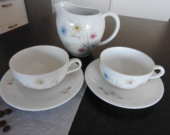 Rörstrand Sweden /two (2)  tea cups and two(2) saucers and creamer  /mid century modern
