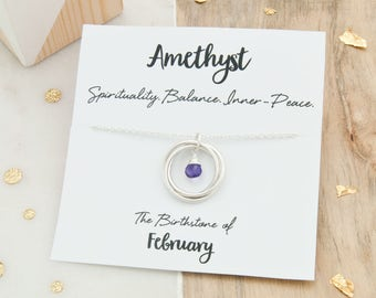 Amethyst Birthstone Necklace, February Birthstone Necklace, Birthday Gift For Her, Amethyst Birthstone Jewelry, February Birthday Jewellery