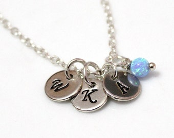 Opal Initial Disk Charm Necklace, Pendant Necklace, Statement, Personalized Necklace Jewelry, Mom and Children, Family, Sister, Mother's Day