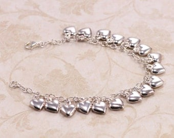 Cascading hearts bracelet, Silver Heart Charm Bracelet, Italian Jewelry