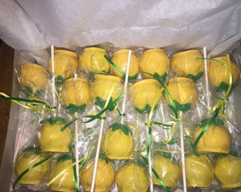 Pineapple cake pops - this listing consists of 1 dozen pops individually wrapped
