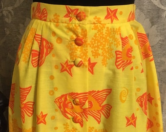 Vintage Skirt-Vintage Yellow Skirt-Vintage Orange Skirt-Sunrise By The Sea Skirt-Fish Skirt-Beach Skirt-Womens Vintage Skirts-Vintage Skirts