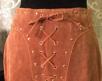 Vintage Skirt-Vintage Leather Skirt-Warrior Princess Leather Skirt-Size 10-Womens Skirts-Vintage Bottoms-Womens Vintage Clothing-Vintage