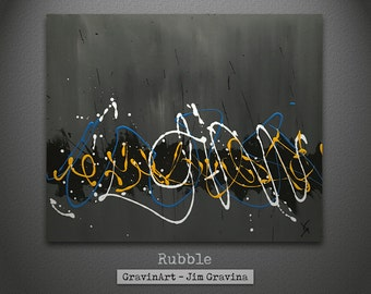 Grey Abstract Art Painting  with Yellow and Blue Accent Colors
