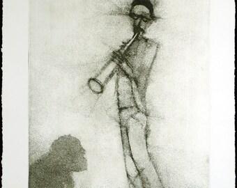 """Art from the GDR. """"John Tchicai, 3.3.84"""", 1984. Etching by Gunter HERRMANN (*1938 D)"""