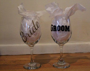 Personalized Bride & Groom Wine Glasses