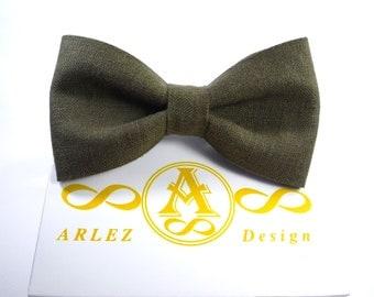Dark Green Linen Bow Tie, Men's Linen Bow Tie, Green bow tie, Groomsmen bow tie, bow tie for baby, Green boy's bow tie.