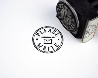Please Write Stamp, Rubber Stamp, Polymer Stamp