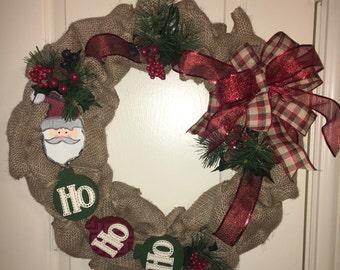 """20"""" Burlap Christmas Wreath"""