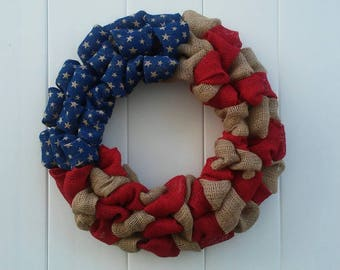 Patriotic Wreath, Americana Wreath, Americana Decor, Independence Day Wreath, Memorial Day, Fourth of July Wreath, Rustic Burlap Patriotic