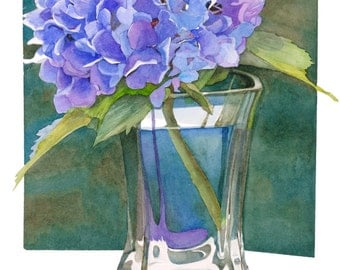 Hydrangea watercolor floral giclee art print, 11x16, wall decor, spring colors, Phyllis Nathans