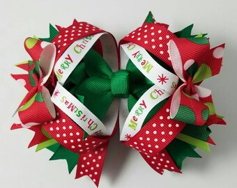 Girls Hair Bow, Boutique Bow, Christmas Hair Bow, Red and Green Bow, Double Stacked Bow, Hair Bows