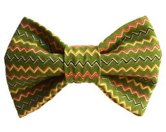 Pea Green Zig Zag Dog Bow-Tie