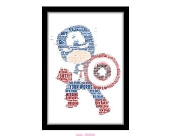 PERSONALISED Captain America Word Art Print Gift Idea Marvel The Avengers Birthday Present For Him Superhero Wall Art Home Decor Print