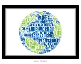PERSONALISED Travelling Word Art Wall Print Gift Idea Leaving Globe Round World Flights Planet Earth America Europe Asia Backpacking PG0066