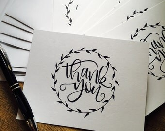 Thank You Notecards with Envelopes - Set of 10/Note Cards/Hand Lettered/HandMade/Modern Calligraphy