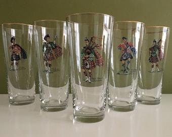 Vintage Libbey Scottish Highlanders Glasses