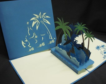 3-D Beach Pop-Up Card