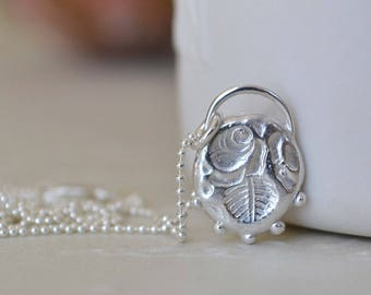 Sterling Silver Rose Relic Pendant. Relic Pendant. Granulation Pendant. Floral Necklace. Gift for Her.