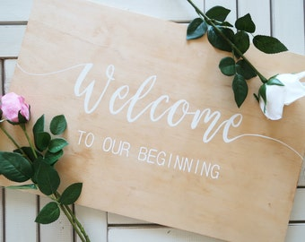 Welcome To Our Beginning. Wedding Welcome Sign. Wooden Rustic Wedding Sign. Wedding Ceremony sign.
