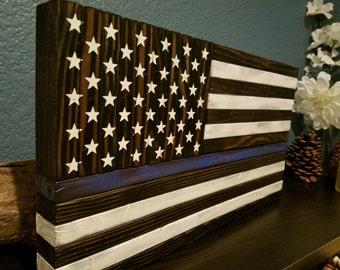 Thin Blue Line Wood Flag - small unframed