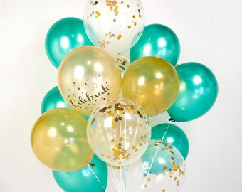 Gold & Green Tinkerbell Confetti Balloon Bouquet Set Of 20/40 - AU Free Shipping
