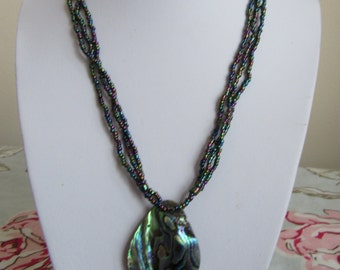 Paua Abalone shell pendant necklace multi stranded retro style boho 17 inches 43 cms