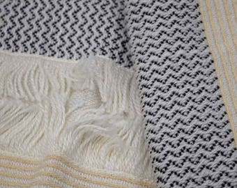 Black and Cream Jacquard Cotton Fabric by the Yard