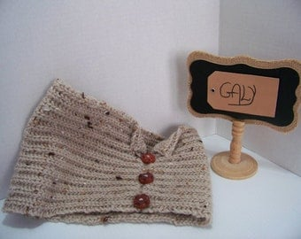 Cache (snood) neck or head (Caramel Tweed) 3 buttons #207