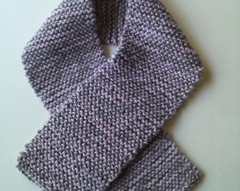 Winter Scarf In Heather Gray & Purple Lilac.Womans,Teens
