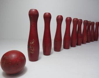 Vintage Red Wooden Tabletop Bowling also called Ten Pins and Skittles, Child's Toy with Ten Pins and One Balls