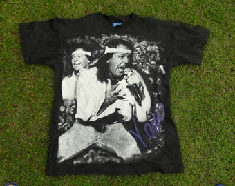 VASCO ROSSI 80's Tour Vintage T-shirt Albachiara and Vita Spericolata Lyrics On The Back Very Rare