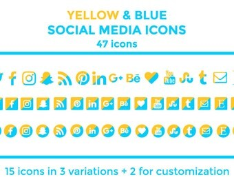 Yellow Blue Social Media Icons Buttons Website Icons Blog Icons Social Media Icons Graphics Twitter