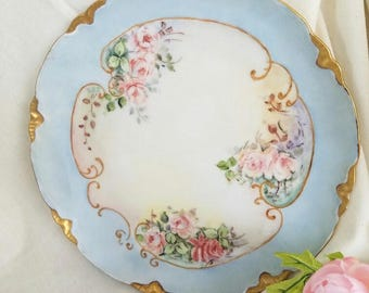 Pink Roses with Blue Border - Hand-Painted China Plate – c. 1909 - Signed