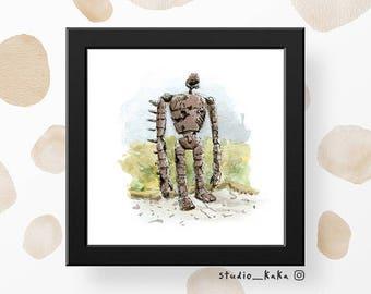 Rusty Robot (Japan Series) == Fine Art Print of Original Watercolour Sketch Painting