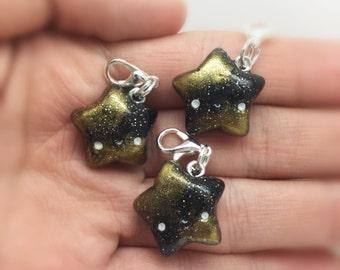 Adorable, handmade, polymer clay, kawaii, black and gold star charm
