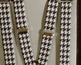 """Skinny Houndstooth Suspenders - 1/2"""""""