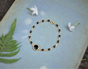 CLEARANCE SALE -  Stone Chain Bracelet // Gold t Black Chain Bracelet // Gifts for Mom // Birthday's Gifts // FULL Price 22.00 usd.